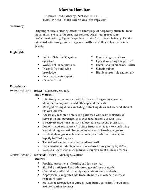 sample resume for a waitress