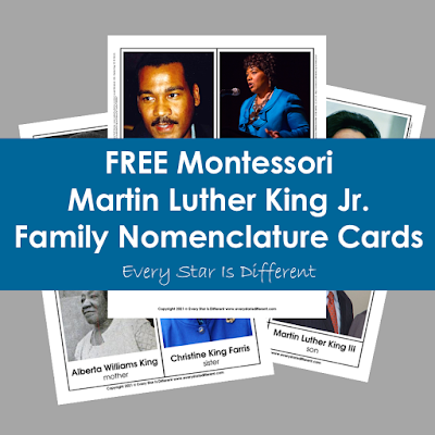 Martin Luther King Jr. Family Member Nomenclature Cards