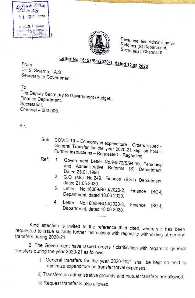 GENERAL TRANSFER FOR THE YEAR-2020-21- KEPT ON HOLD FURTHER INSTRUCTIONS - GOVT Letter Attatched
