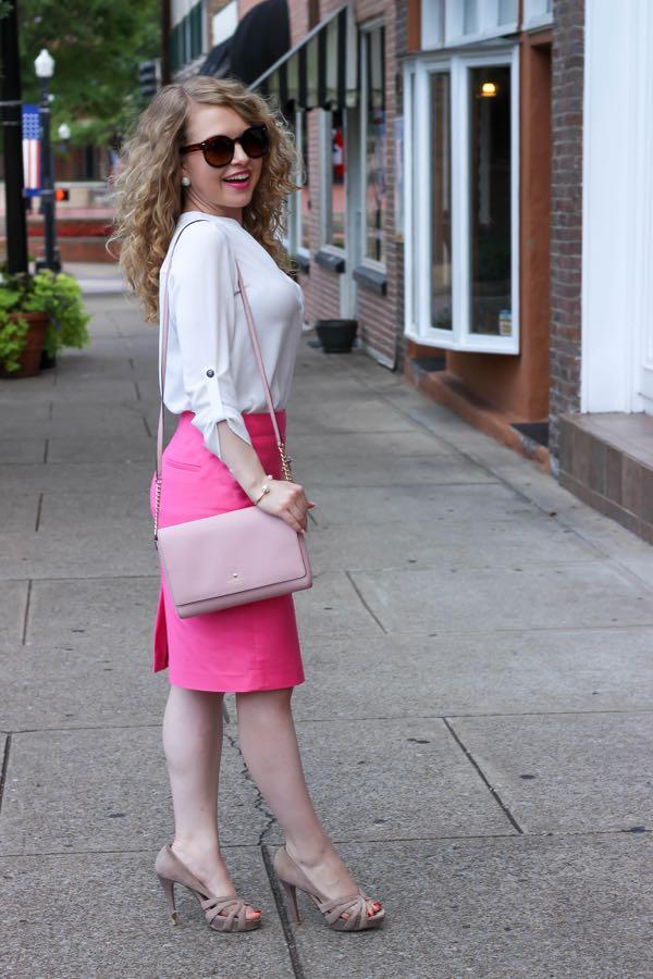 Pink Pencil Skirt, Lawyer Lookbook, Lawyer Fashion Blog