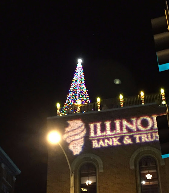 Christmas tree atop a building in downtown Rockford, IL