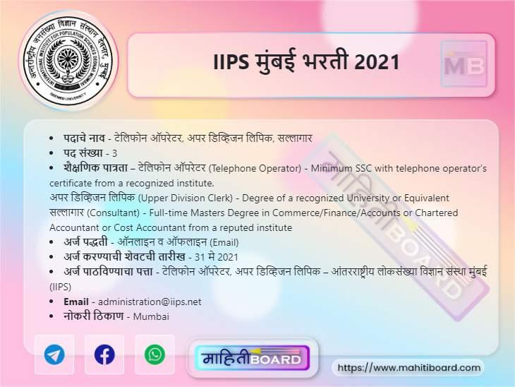 IIPS Mumbai Recruitment 2021