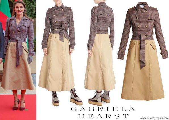 Queen Rania wore GABRIELA HEARST Armonia double-breasted wool-blend trench coat