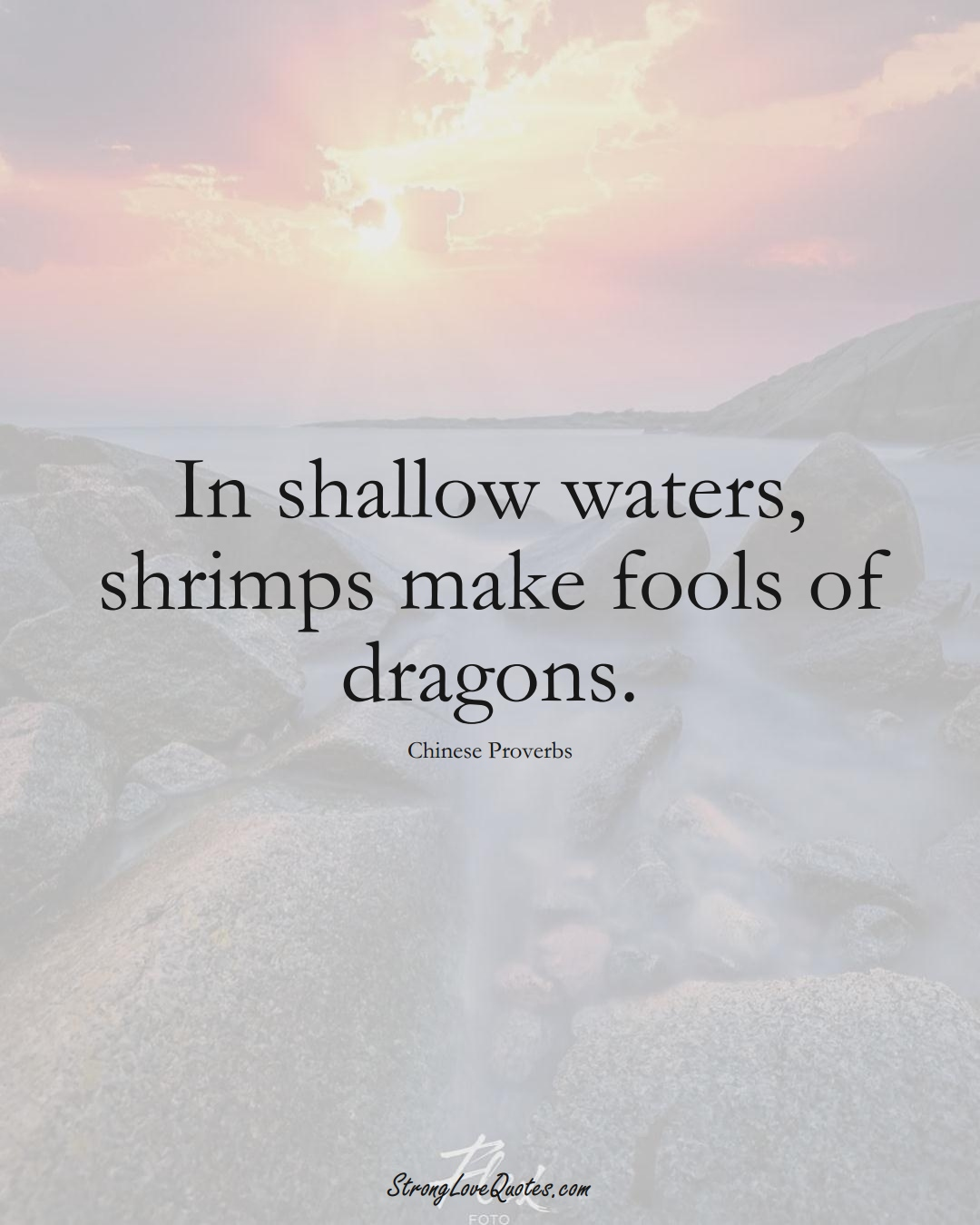 In shallow waters, shrimps make fools of dragons. (Chinese Sayings);  #AsianSayings