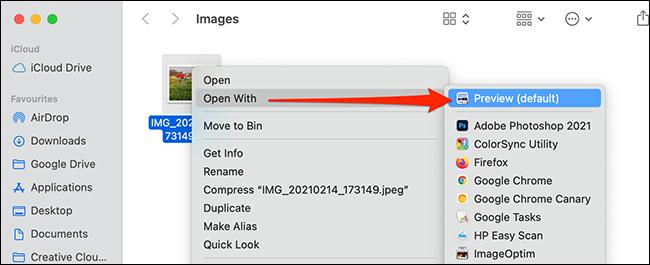 انقر بزر الماوس الأيمن فوق صورة وحدد فتح باستخدام> معاينة.