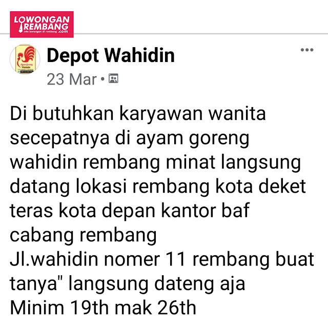 Lowongan Kerja Pegawai Ayam Goreng Depot Wahidin Rembang