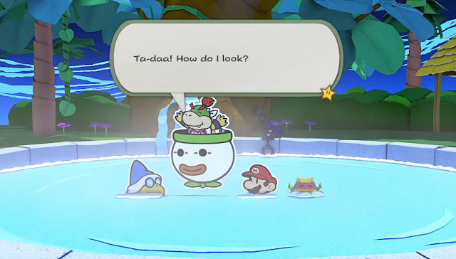Paper Mario The Origami King Bowser Jr. hot spring how do I look