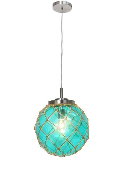 Blue Rope Net Glass Globe Pendant Light Ceiling Lamp