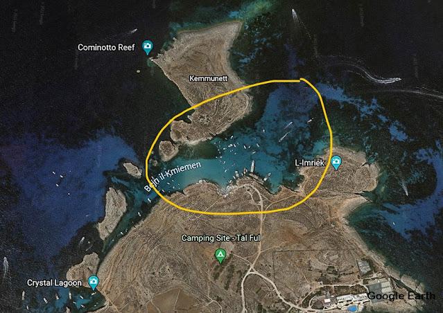 mapa da Lagoa Azul de Malta