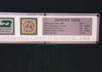 Burlington Northern F9-2 BN-1 Data Plate