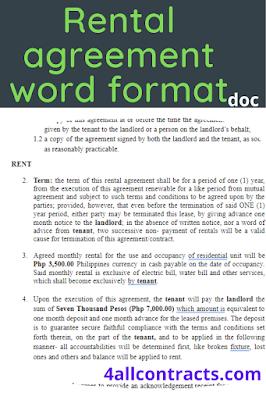 Rental agreement word format