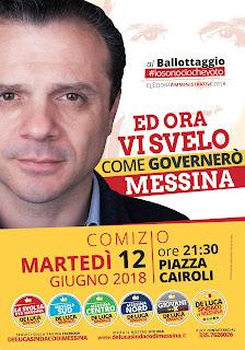 AMMINISTRATIVE 2018: SI VA AL BALLOTTAGGIO. STASERA COMIZIO DI CATENO DE LUCA