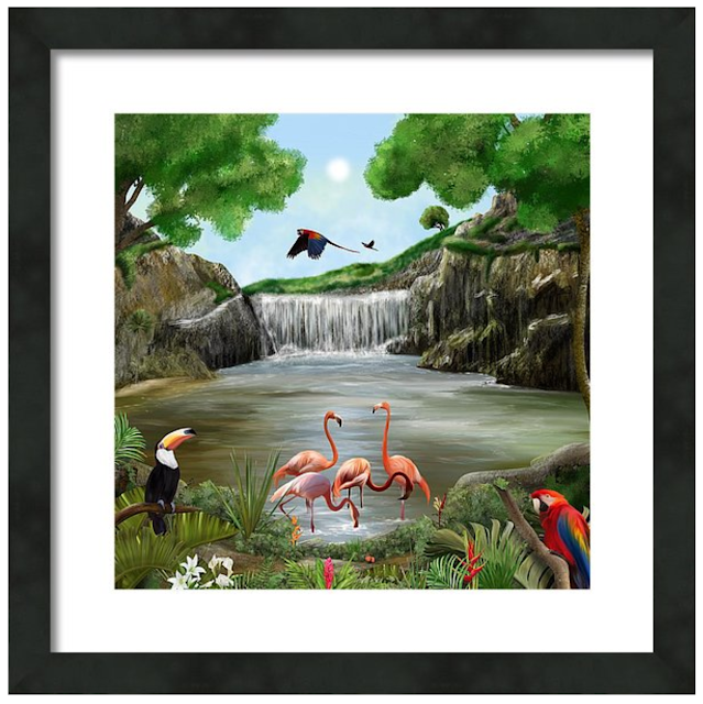 pool party art, jungle, flamingos, art by Mark Taylor