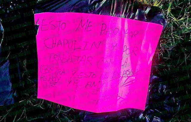 """""""Esto me paso por andar de chapulin y estar con la contra"""" Hallan cuatro bolsas negras con restos humanos en Veracruz."""
