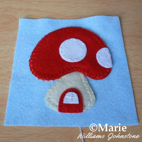 Mini mushroom applique for square basic pincushion front