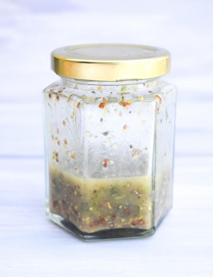 Greek Salad Dressing in a jam jar