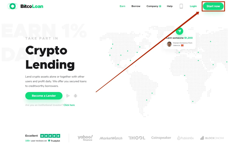 Регистрация в BitcoLoan