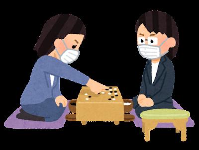 マスクを付けた囲碁の対局のイラスト(女性)