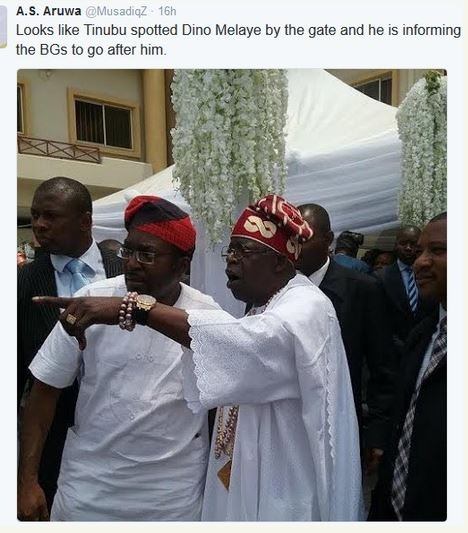 So Hilarious: See the Moment Senator Dino Melaye was Spotted at Tinubu's Wedding (Photo)