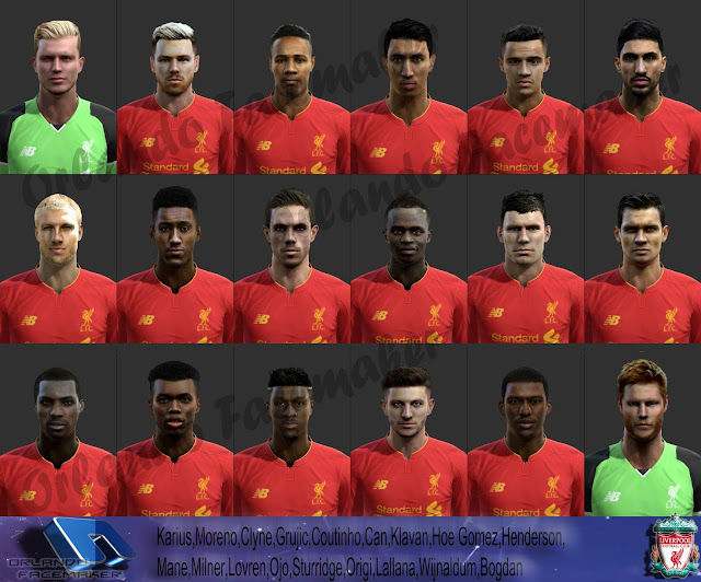 PES 2013 Big Liverpool Facepack Season 2016-2017 by Orlando Facemaker