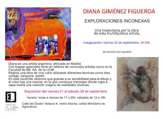 Invitación a la exposición de Diana Giménez Figueroa.