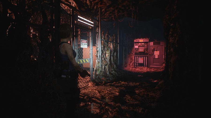 resident evil 3 remake screenshot image jill valentine umbrella incineration disposal plant raccoon city