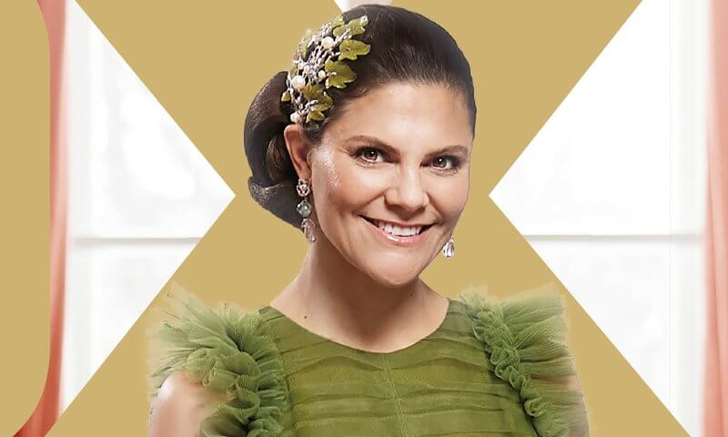 Crown Princess Victoria wore a new green tulle dress from H&M Conscious Exclusive AW 2020 collection, and nocturnal tiara from Maria Nilsdotter