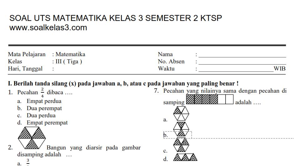 Soal Matematika Kelas 3 Semester 2 Dan Kunci Jawaban Dapatkan Data