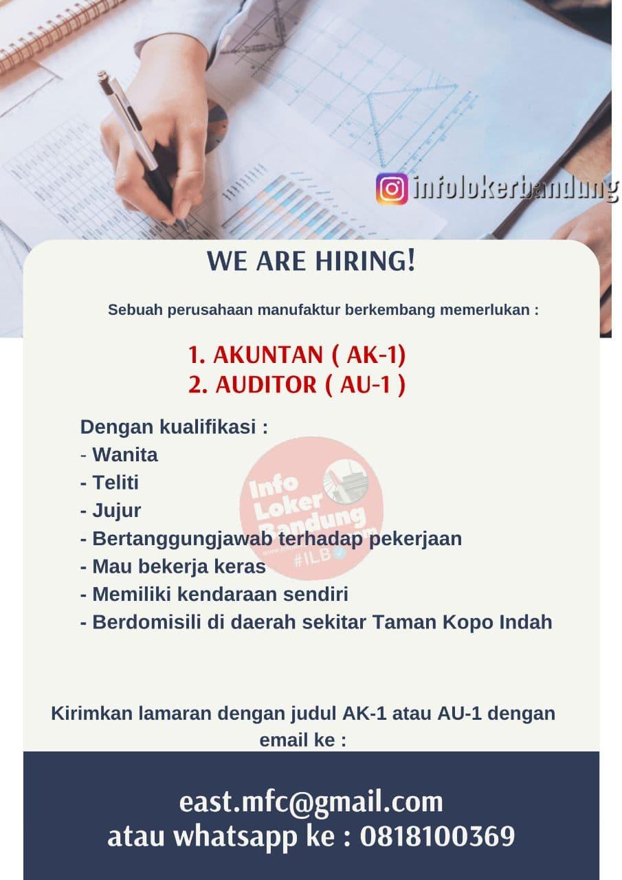 Lowongan Kerja Akuntan & Auditor Perusahaan Manufaktur Bandung Agustus 2021