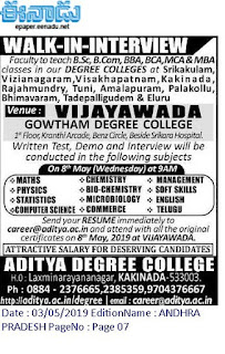 Aditya Degree College Lecturers Jobs Recruitment 2019 Walk in date 08-05-2019 Vijayawada