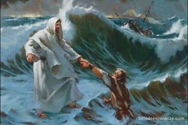Jesús salva a pedro de las aguas del mar