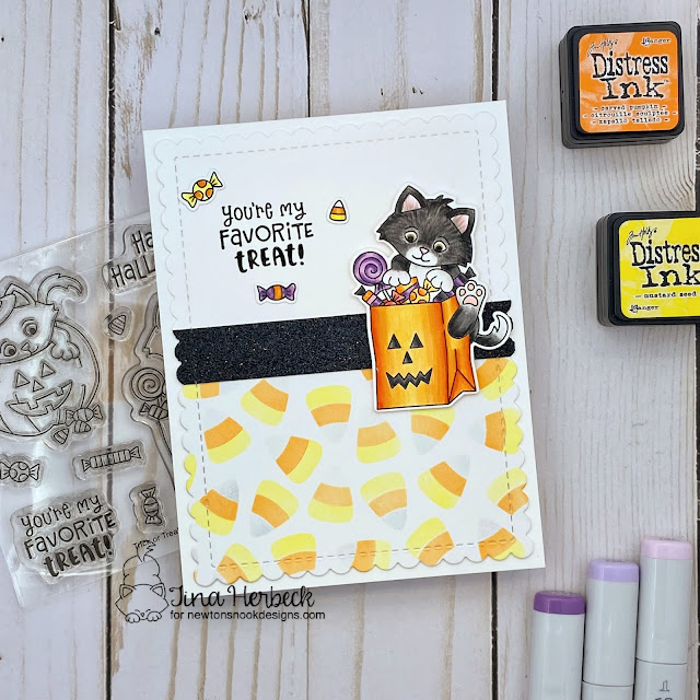 Halloween Kittens and Candy Corn Card by Tina Herbeck   Trick or Treat Kittens Stamp Set, Frames & Flags Die Set and Candy Corn Stencil Set by Newton's Nook Designs #newtonsnook