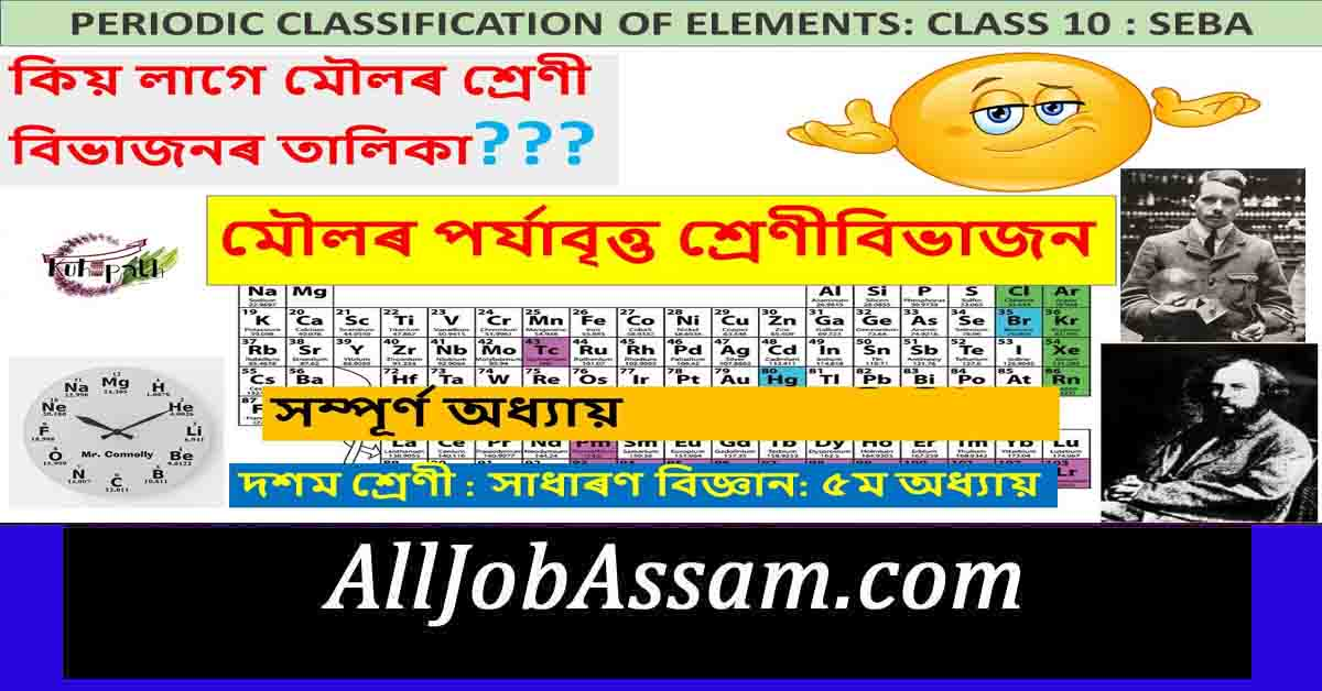 SEBA Class 10- Periodic Classification of Elements