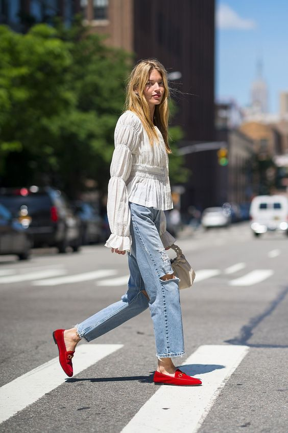 Martha Hunt in a Ruffled Sleeve Top, Jeans, and Red Gucci Loafers — Summer Outfit Idea