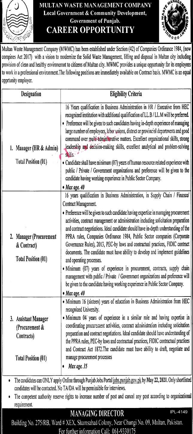 Latest Jobs in Multan Waste Management Company MWMC Multan 2021