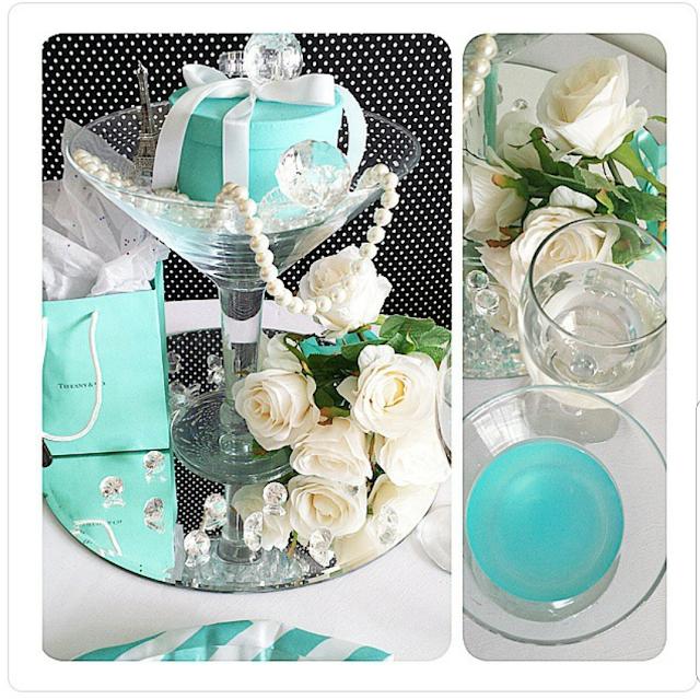 Breakfast at Tiffany Theme Centerpiece, tiffany blue wedding, centerpiece, wedding ideas