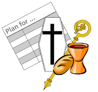 Icon for Roman Catholic requiem mass planning template:  coffin, bread-and-wine, shepherd's crook