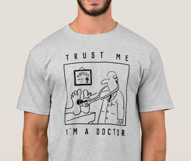 Doctor t-shirt. Funny medical cartoon on a t-shirt shows a doctor with stethoscope..