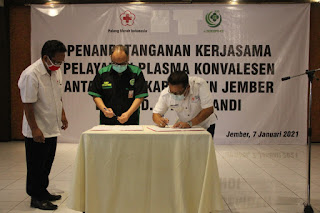 Kado Awal Tahun 2021PMI Jember dan RSUD dr. Soebandi Tanda Tangani Kerjasama Pelayanan Plasma Darah