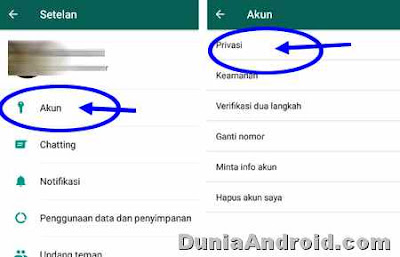 menu privasi status WA