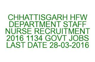 CHHATTISGARH HFW DEPARTMENT STAFF NURSE RECRUITMENT 2016 1134 GOVT JOBS LAST DATE 28-03-2016