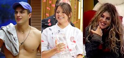 Kléber Bambam, do Big Brother Brasil; Elisa Fernandes, do MasterChef; e Bárbara Paz, da Casa dos Artistas