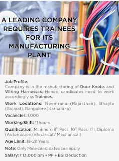 10th Pass, ITI, Diploma  Requires Leading Manufacturing Company Position Trainees for its plant in Rajasthan, Gujarat & Bangalore