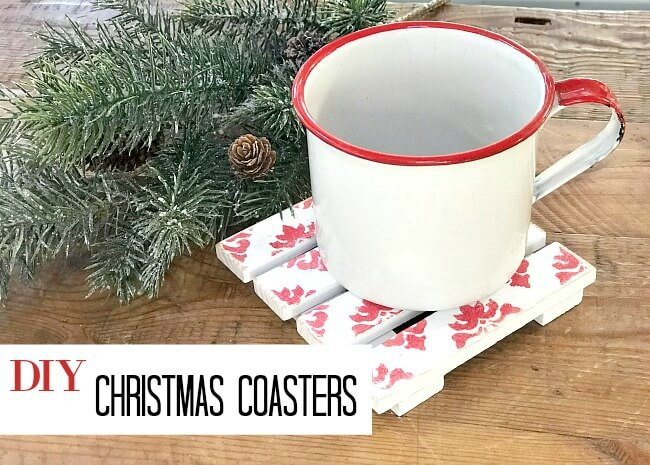 Red and white Pallet Christmas Drink Coasters