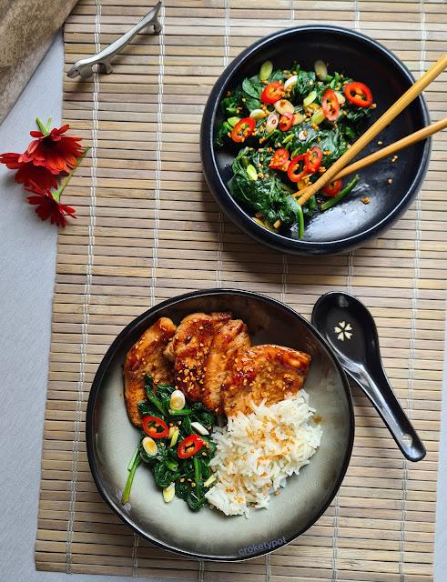 espinacas coreana