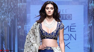 Disha Patani in Beautiful Blue Chania Choli Lehenga at Lakme Fashion Week Summer Spring 2017 2.jpg