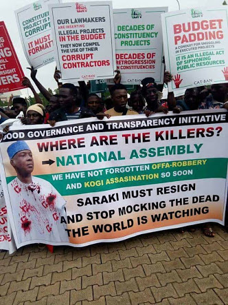 Angry Protesters Storm National Assembly, Use Strong Words On Saraki, Others (Photos)