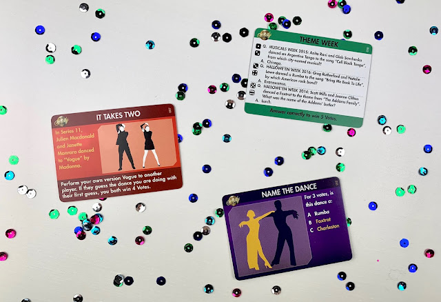 Examples of Strictly game cards for Theme Week, It takes Two and Name The Dance