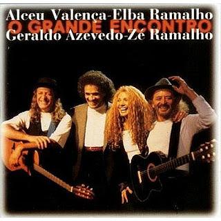 """Alceu Valença, Zé Ramalho, Elba Ramalho e Geraldo Azevedo na capa do disco """"O Grande Encontro"""""""