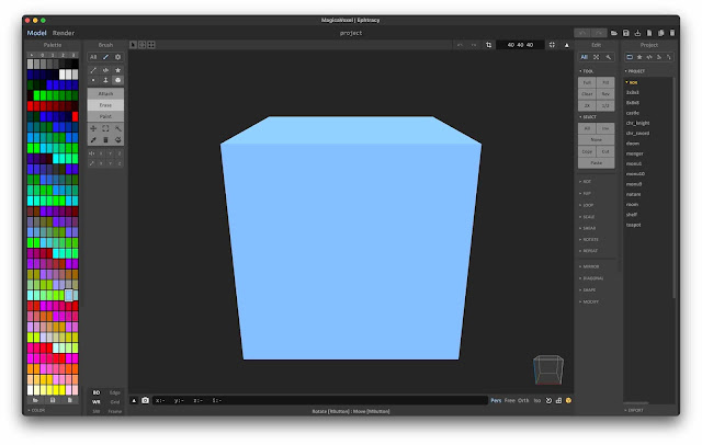 MagicaVoxel editor with a blue cube model